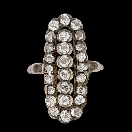 Ring, antikslipade diamanter, tot. ca 1.50 ct.