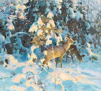 134. Thure Wallner, Rådjur i snötyngd skog.