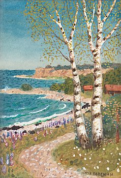 OSKAR BERGMAN, Coastal scene with birch trees. Signed Oskar Bergman. Watercolour 13.5 x 9 cm.