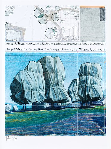 "Christo & jeanne-claude, ""wrapped trees, project for the the fondation beyeler and berower park, riehen, switzerland""."