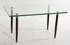 Soffbord, glas, trä, 1960-tal.