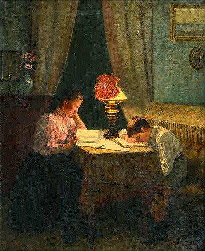 """Arvid liljelund, """"flit (vid kvÄllslampan)""""."""