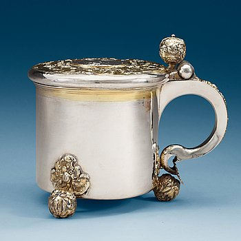 964. A Swedish parcel-gilt tankard, makers mark of Erik Nordwall, Norrköping (-1699-1723).