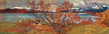 """HELMER OSSLUND, """"Torne träsk om hösten"""" (Torne träsk in autumn)."""