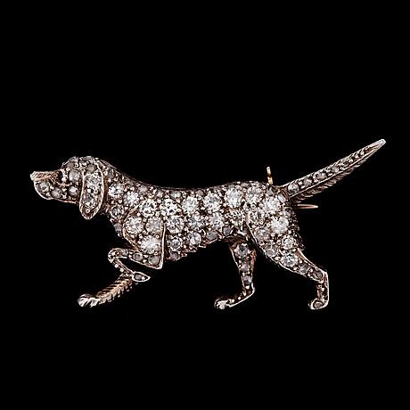A rose cut diamond dog brooch, 1930's