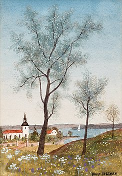 OSKAR BERGMAN, Spring landscape with Birch trees. Signed Oskar Bergman. Watercolour 17 x 12.5 cm.
