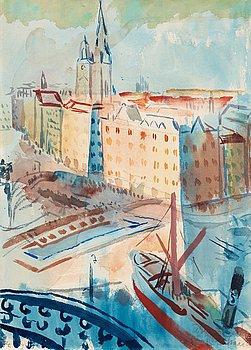 102. ISAAC GRÜNEWALD, Utsikt från Söder mot Tyska kyrkan och Storkyrkan.