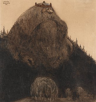"JOHN BAUER, ""Herr Birre och trollen"" (Master Birre and the goblins). Signed John Bauer and dated -09. Watercolour, heightened w..."