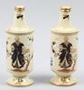 Flaskor, 2st, snarlika, flintgods resp porslin, rörstrand, tidigt 1900-tal.