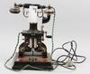 Telefon, metall, plast, lm ericsson, sent 1900-tal.