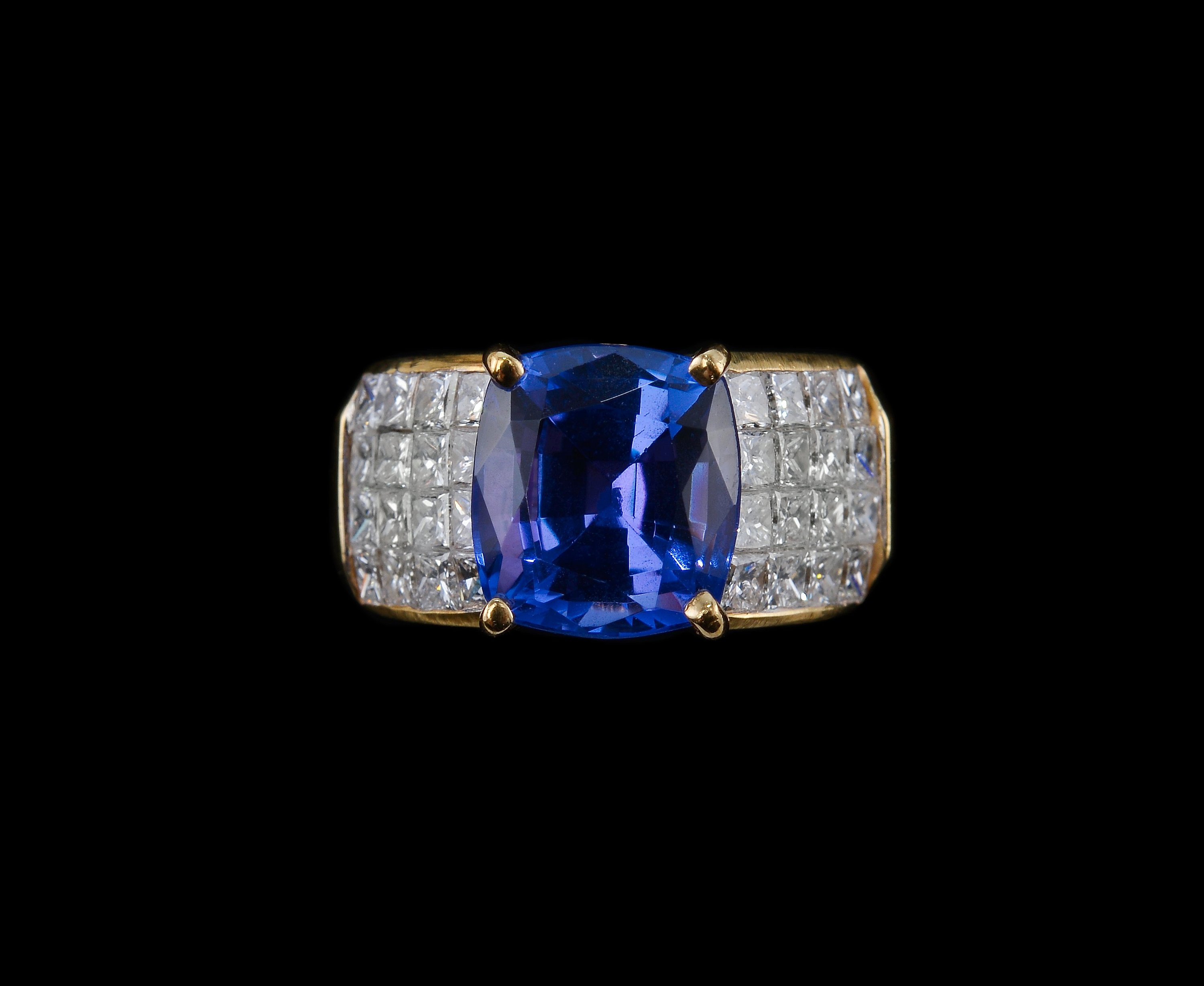 sparkling store princess sapphire with cut tanzanite accents ring white