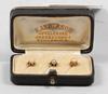 Skjortknappar, 3 st, guld, pärlor, stockholm 1896.