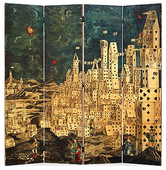 501. A Piero Fornasetti four-panel room divider/folding screen, 'City of cards', Milan, Italy 1950's.