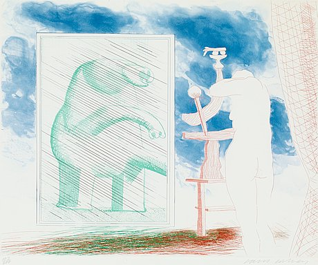 """David hockney, """"a picture of ourselves"""", from: """"the blue guitar""""."""