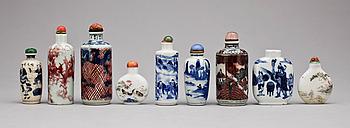 350844. SNUSFLASKOR, 9 st, porslin, Kina, 1900-tal.