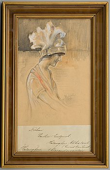131. ALBERT EDELFELT, blandteknik, signerad och daterad 1898.