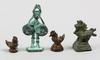 Parti figuriner, 4 st, brons, bla opiumvikter, asien.