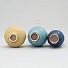 Three berndt friberg stoneware vases, gustavsberg studio 1969-70.
