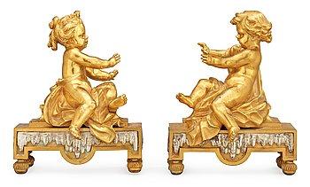 833. ELDHUNDAR, ett par. Frankrike, 1800-tal.