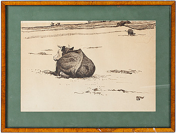 """NILS KREUGER, """"Liggande ko"""" (Resting cow)."""