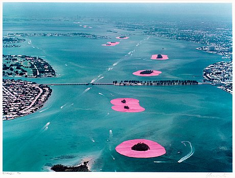 """Christo & jeanne-claude, """"surrounded islands, biscayne bay, greater miami, florida, 1980-83""""."""