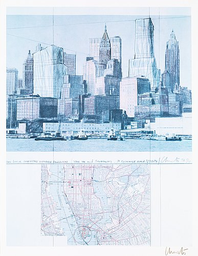 """Christo & jeanne-claude, """"two lower manhattan wrapped buildings, project for new york""""."""
