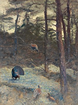 "BRUNO LILJEFORS, ""Tjäderspel"" (Capercaillie's calls). Signed Bruno Liljefors and dated 1923. Canvas 65 x 50 cm."