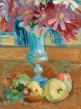 114. Isaac Grünewald, Still life with flowers in vase and fruits.
