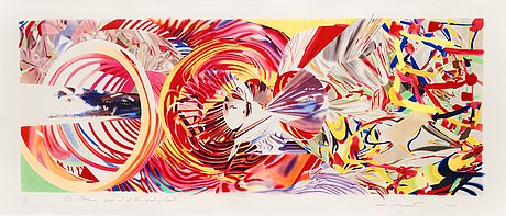 "James rosenquist after, ""the stowaway peers out at the speed of light""."