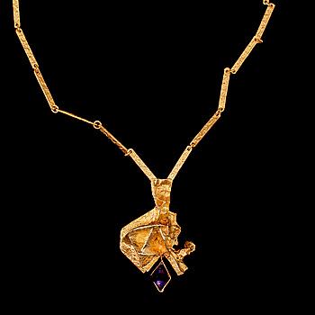 "COLLIER, 18k guld med fasettslipad ametist, ""Kaltio"" Björn Weckström, Lapponia, Finland, 1900-talets slut. Vikt 42 g."