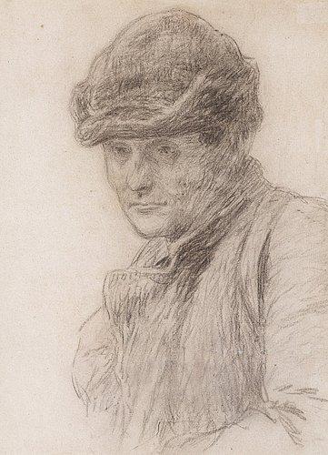 Bruno liljefors, kol på papper, ca 1890-93, intygad med uplands enskilda banks sterbhusstämpel a tergo.