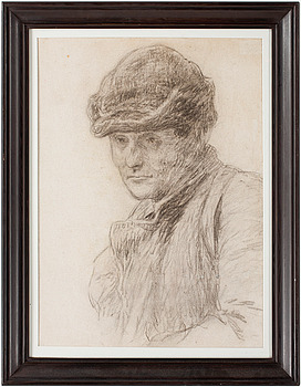BRUNO LILJEFORS, Charcoal on paper, ca 1890-93, authenticated with rubber stamp from the artist's deceased estate.