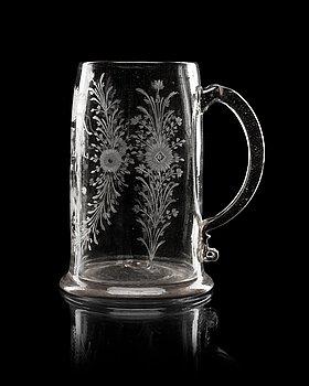 843. An engraved Swedish wedding tankard, dated 1800.