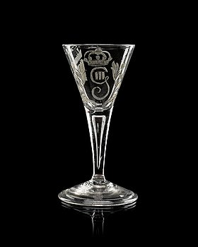 841. A Swedish armorial goblet with the monogram of King Gustavus III, 18th Century.