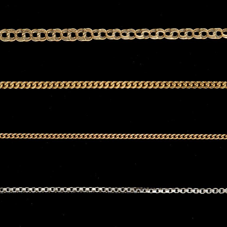 HALSKEDJOR, 4 st, 18 k guld och vitguld. 1800/1900-tal. Vikt ca 14g.