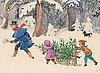Elsa beskow, farbror blå hugger en julgran.