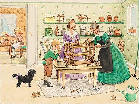 Elsa beskow, tant grön och petter tillverkar en bokhylla i julklapp åt farbror blå.