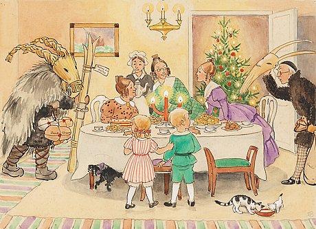 Elsa beskow, petter och lotta överraskas av två julbockar.