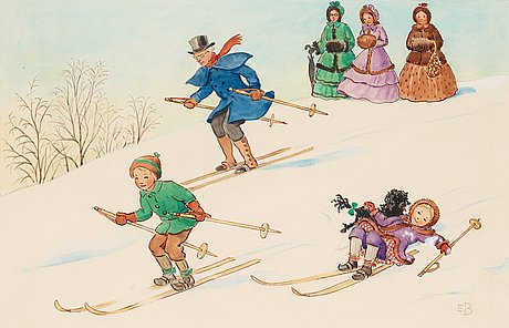 Elsa beskow, petter och lotta åker skidor med farbror blå.