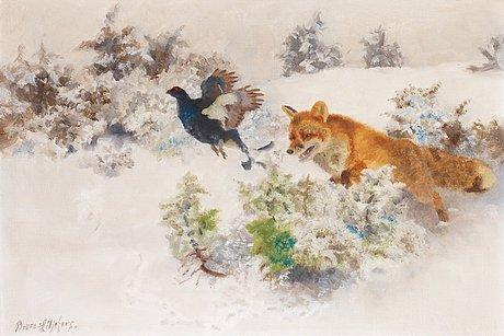 Bruno liljefors, vinterlandskap med räv och orre.