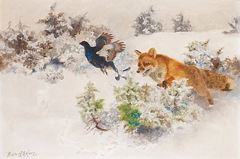 BRUNO LILJEFORS, Winter landscape with Fox and Black Grouse. Signed Bruno Liljefors. Canvas 35 x 50 cm.