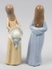 Figuriner, 2 st, porslin, lladro respektive nao, spanien.