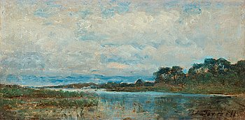 VICTOR FORSSELL, Landscape from the surroundings of Stockholm. Signed V. Forssell. Executed in 1875. Panel 17 x 32.5 cm.