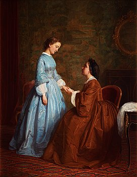 HUGO SALMSON, Mother knows best. Signed Hugo Salmson and dated -68. Canvas 64.5 x 50.5 cm. ...