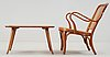 A birch bentwood armchair and table, by thonet, 1930's.