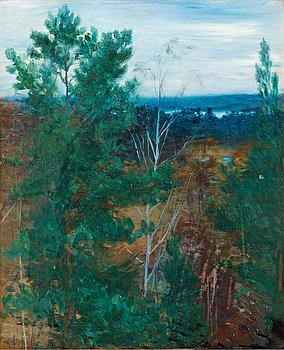 ROBERT THEGERSTRÖM, Forest landscape, Dalarö. Signed R. Thegerström and dated 1892. Panel 55 x 45 cm. Or...