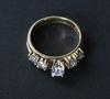 Ringar, 2 st sammanhörande, guld 14 k med 5 diamanter.