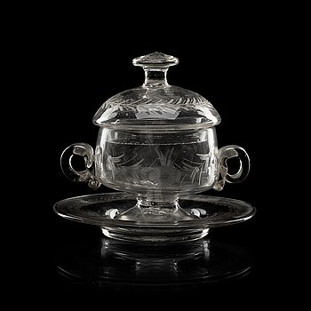 840. A Swedish butter tureen with cover and stand, 18th Century.