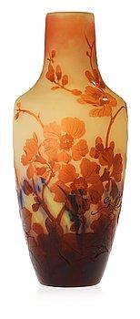 920. An Emile Gallé Art Nouveau amber cameo glass vase, Nancy France.
