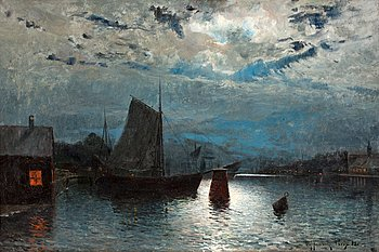 OLOF KRUMLINDE, Moonlit river landscape. Signed Olof Krumlinde and dated Paris -82. Canvas 59 x 90 ...